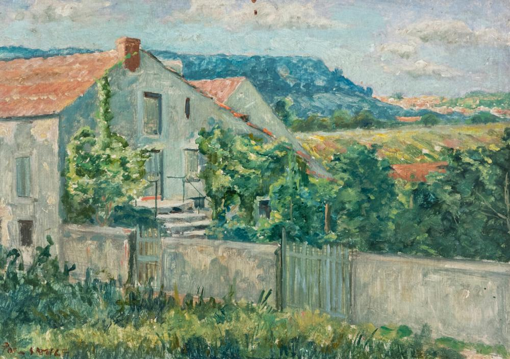 Attributed to Paul Sample, American (1896-1974), House in a landscape, oil on board, 9 x 13 inches