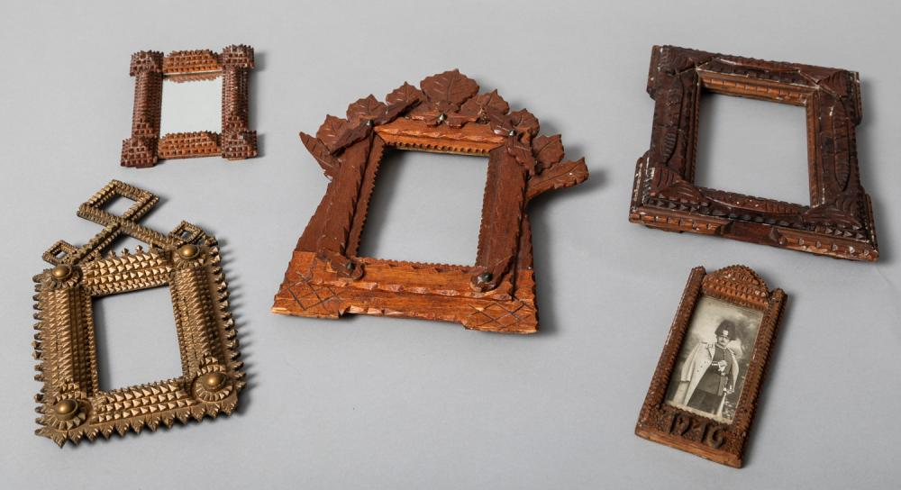 Collection of Five Folk Art and Tramp Art Frames