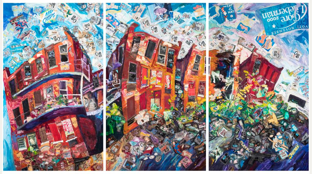 Nick Riggio, St. Louis, Triptych, untitled collage of found objects, mixed media on wood panels, size of each panel: 81 x 48 inches