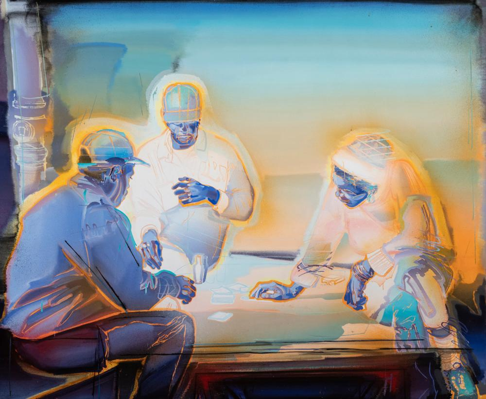 Carol Carter, St. Louis, Playing the Hand You're Dealt, 1997, oil on canvas, 74 x 90 inches