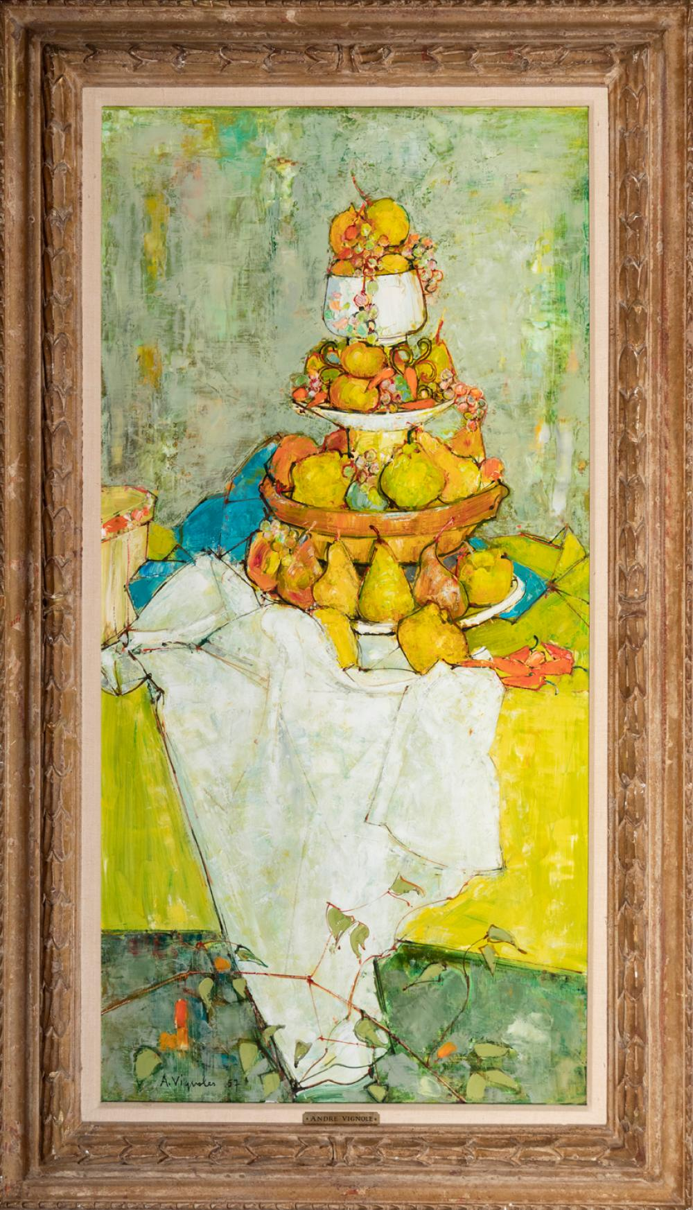 Andre Vignoles, French (b. 1920), Still Life of Pears, 1957, oil on canvas, 39 x 20 inches