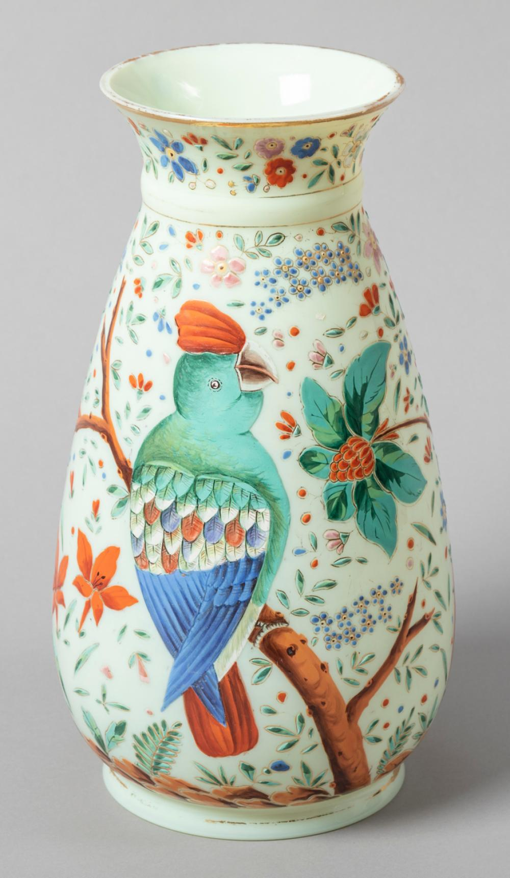 Hand Painted Opaline Glass Vase Attributed to Baccarat