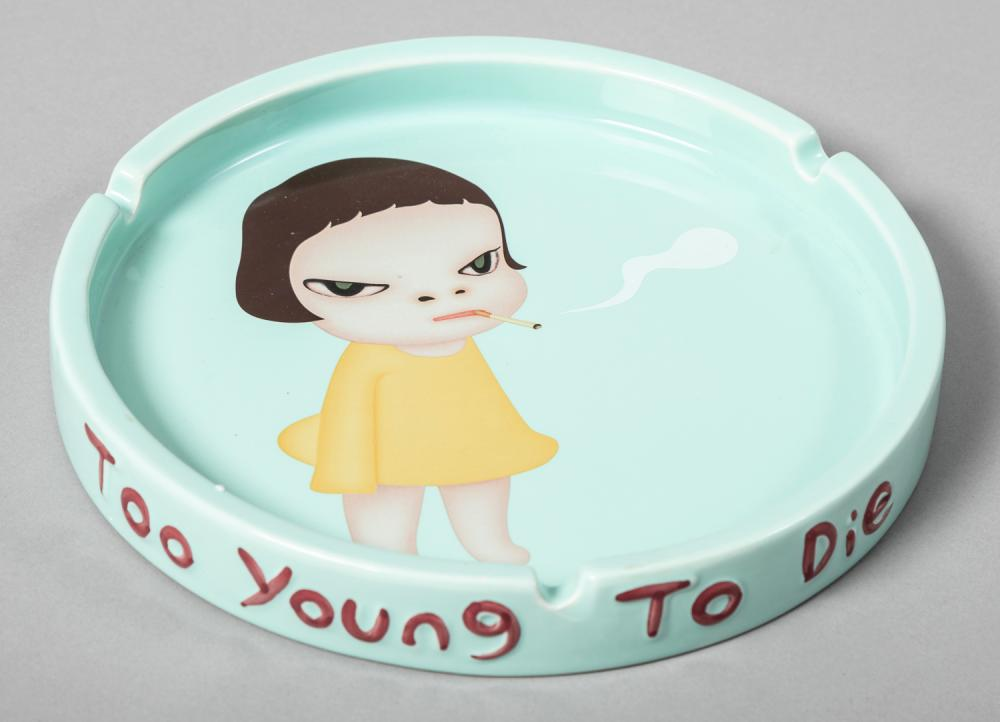 Yoshitomo Nara, Japanese (b. 1957), Too Young to Die, ashtray with transfer print, Diameter: 9 3/4 inches