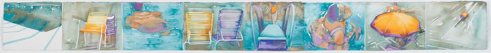 Carol Carter, St. Louis, Untitled, 1991, consisting of eight watercolor drawings on paper depicting swimmers and deck chairs, 6 x 59...
