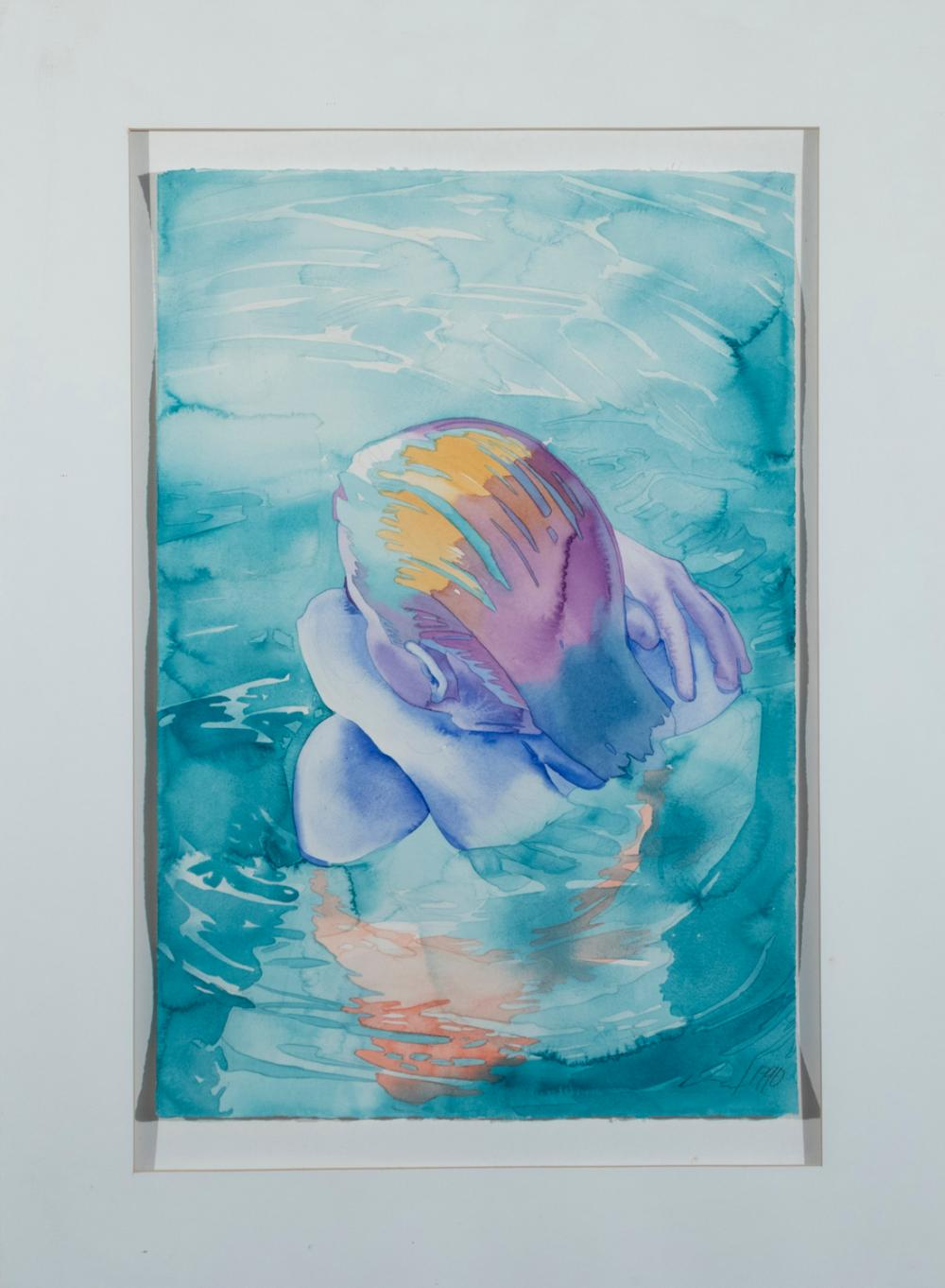Carol Carter, St. Louis, Swimmer, 1990, watercolor on paper, 22 x 15 inches