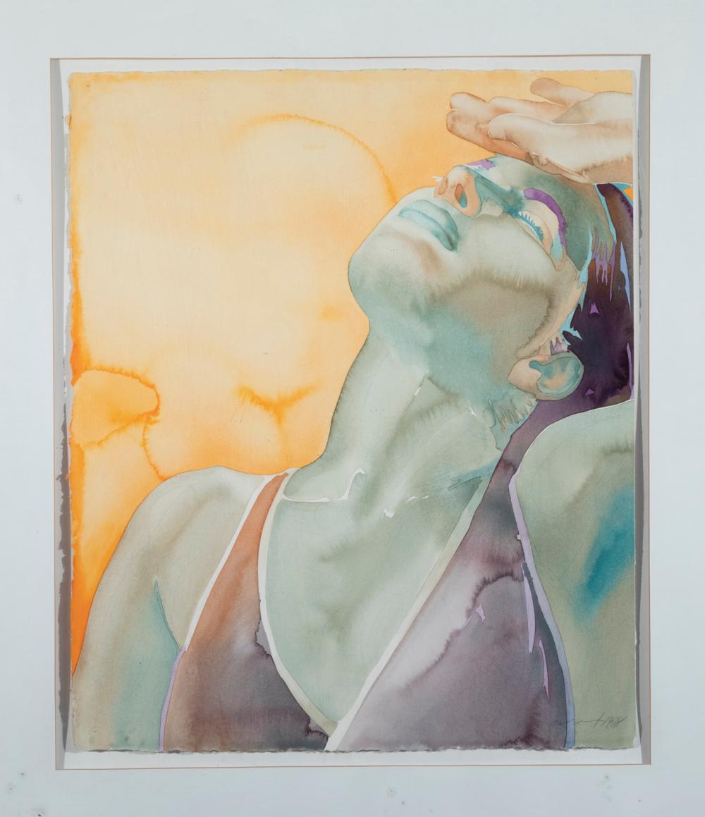 Carol Carter, St. Louis, Swimmer, 1988, watercolor on paper, 30 x 24 inches