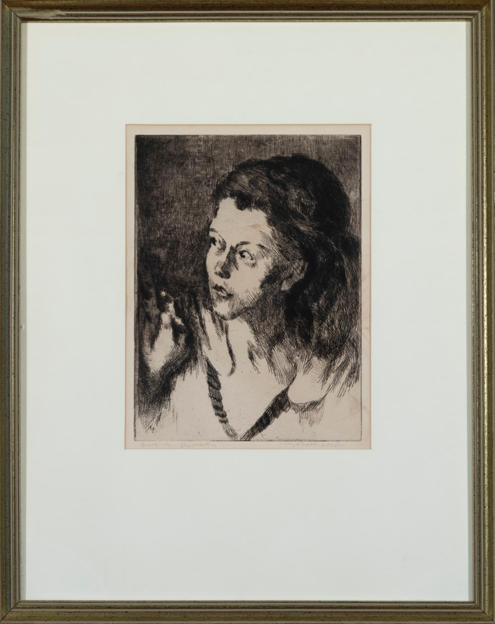 Raphael Soyer, American ( 1899-1987), Girl in Doorway, 1941, etching, 9 3/8 x 6 7/8 inches
