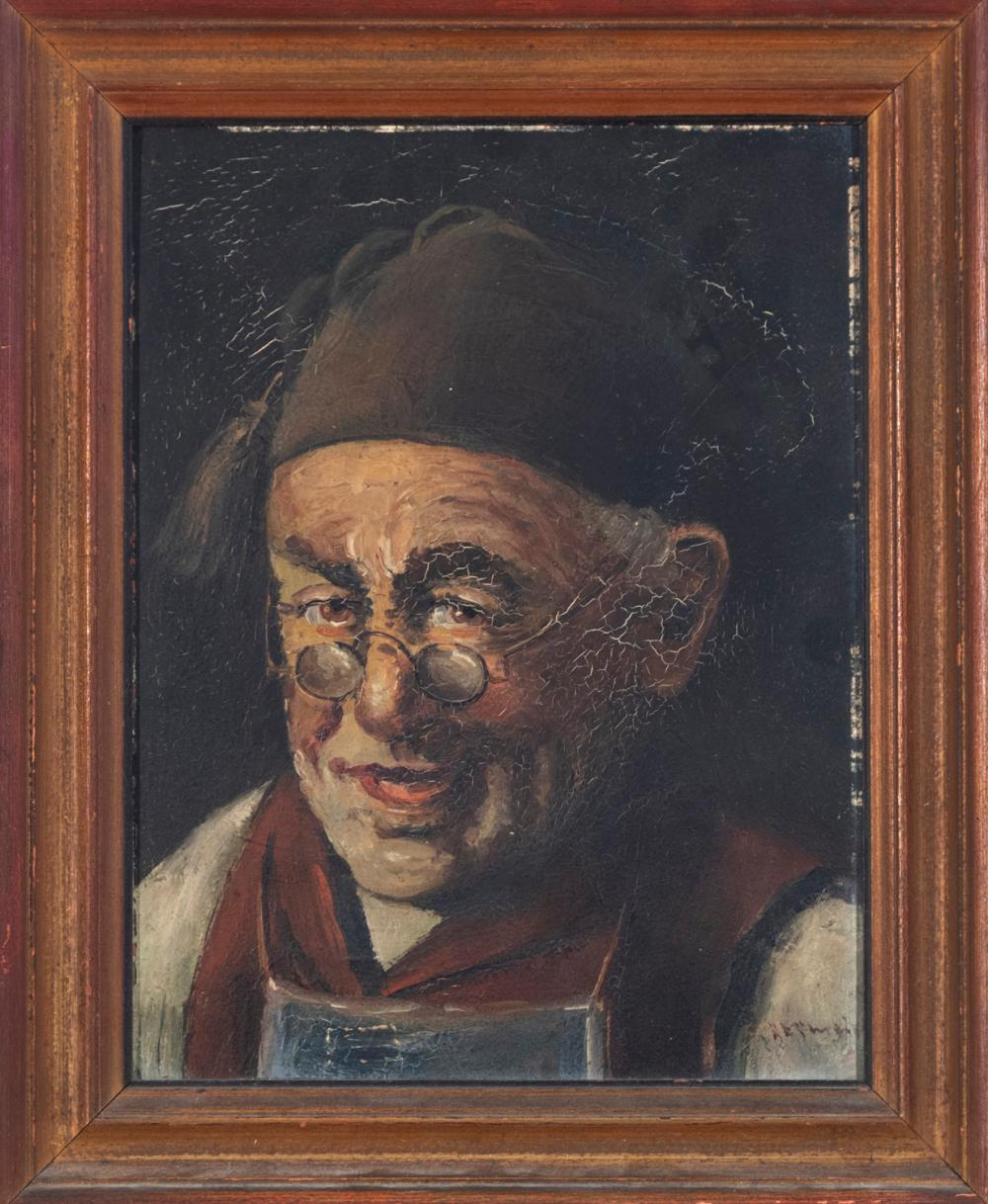 Continental School, early 20th century, Portrait of a Gentleman, oil on board, 10 x 7 1/2 inches