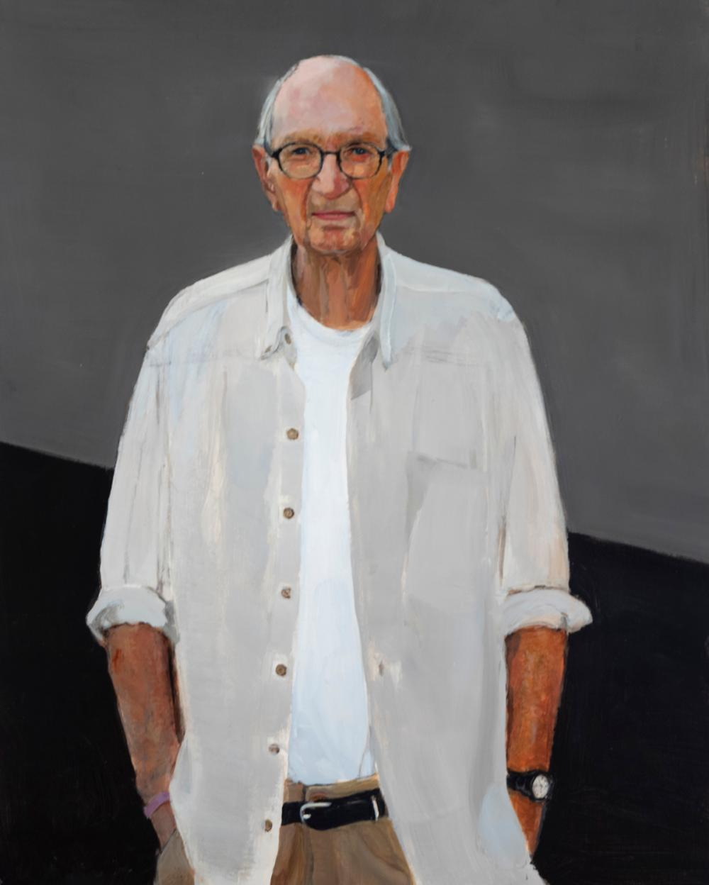 Ed Smith, Indiana/ Missouri (1920-2018), Self-Portrait, acrylic on canvas, 30 x 24 inches