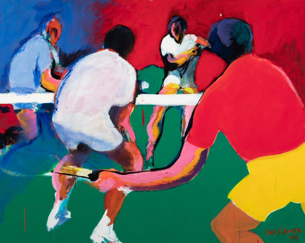 Ed Smith, Indiana/ Missouri (1920-2018), Tennis, 1984, acrylic on canvas, 40 x 50 inches