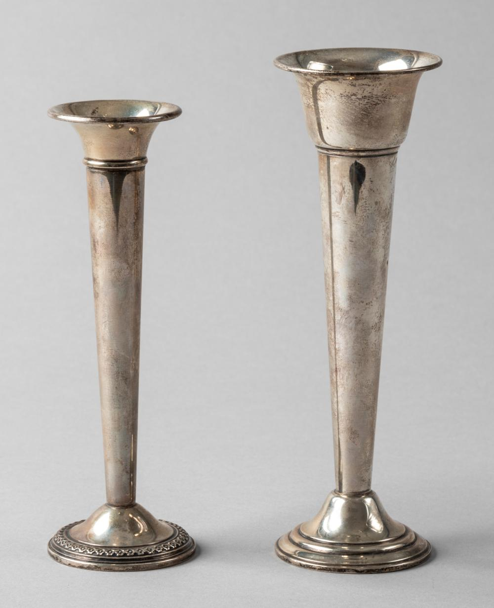 Two Sterling Silver Bud Vases