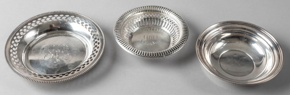 Two Gorham Sterling Silver Small Bon Bon Dishes and a Wine Coaster