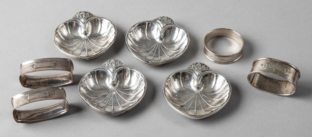 Four Sterling Silver Individual Mint Dishes and Four Napkin Rings