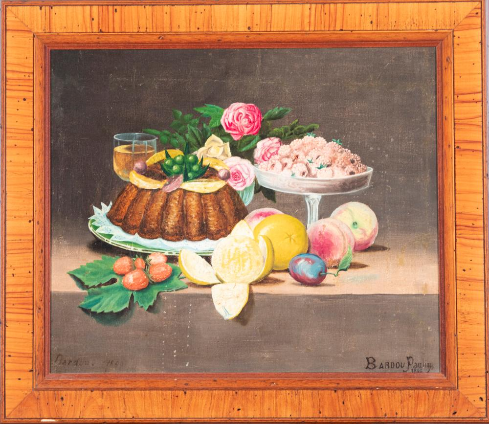 Bardou, French, Still life with fruit and flowers, oil on canvas, 19 x 22 inches