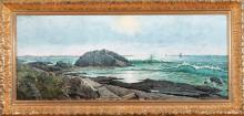 Edward Dewey, Illinois (1850-1939), Coastal Scene, 1922, oil on board, 15 x 38 inches