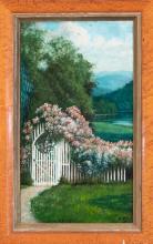 Edward Dewey, Illinois (1850-1939), Garden Scene, 1930, oil on board, 24 x 14 inches
