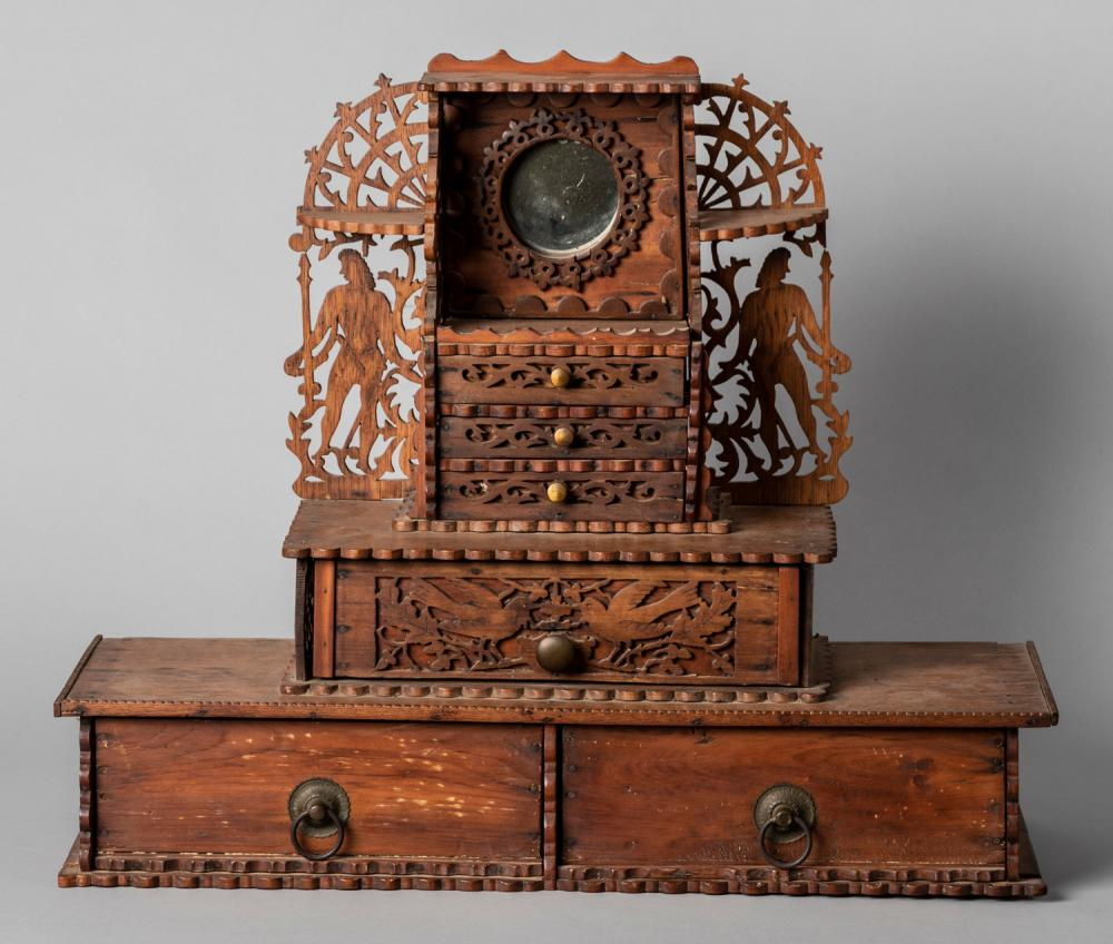 Elaborately Carved Tramp Art Vanity Console