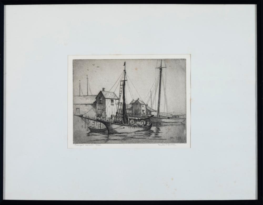 Gustav Goetsch, American (1877-1969), Rockport Harbor, Mass, etching, 5 3/4 x 7 7/8 inches