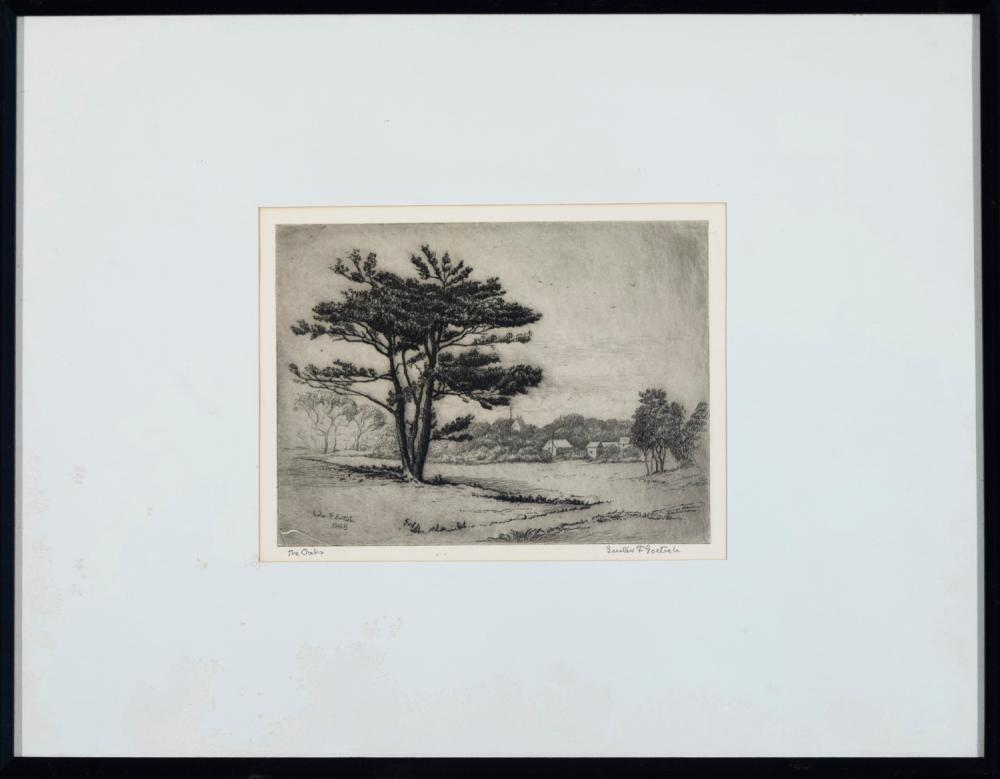 Gustav Goetsch, American (1877-1969), The Oaks, 1948, etching, 5 7/8 x 7 7/8 inches