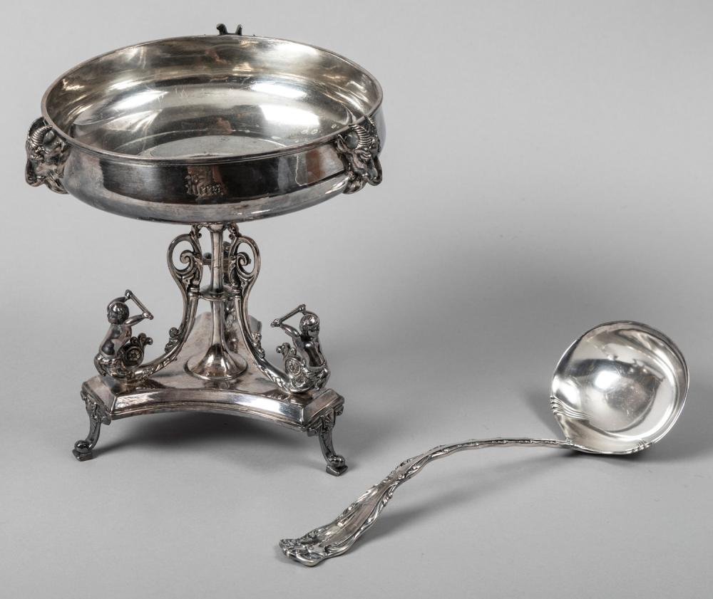 Early 20th Century Silver Plate Compote and a Punch Ladle by Reed & Barton
