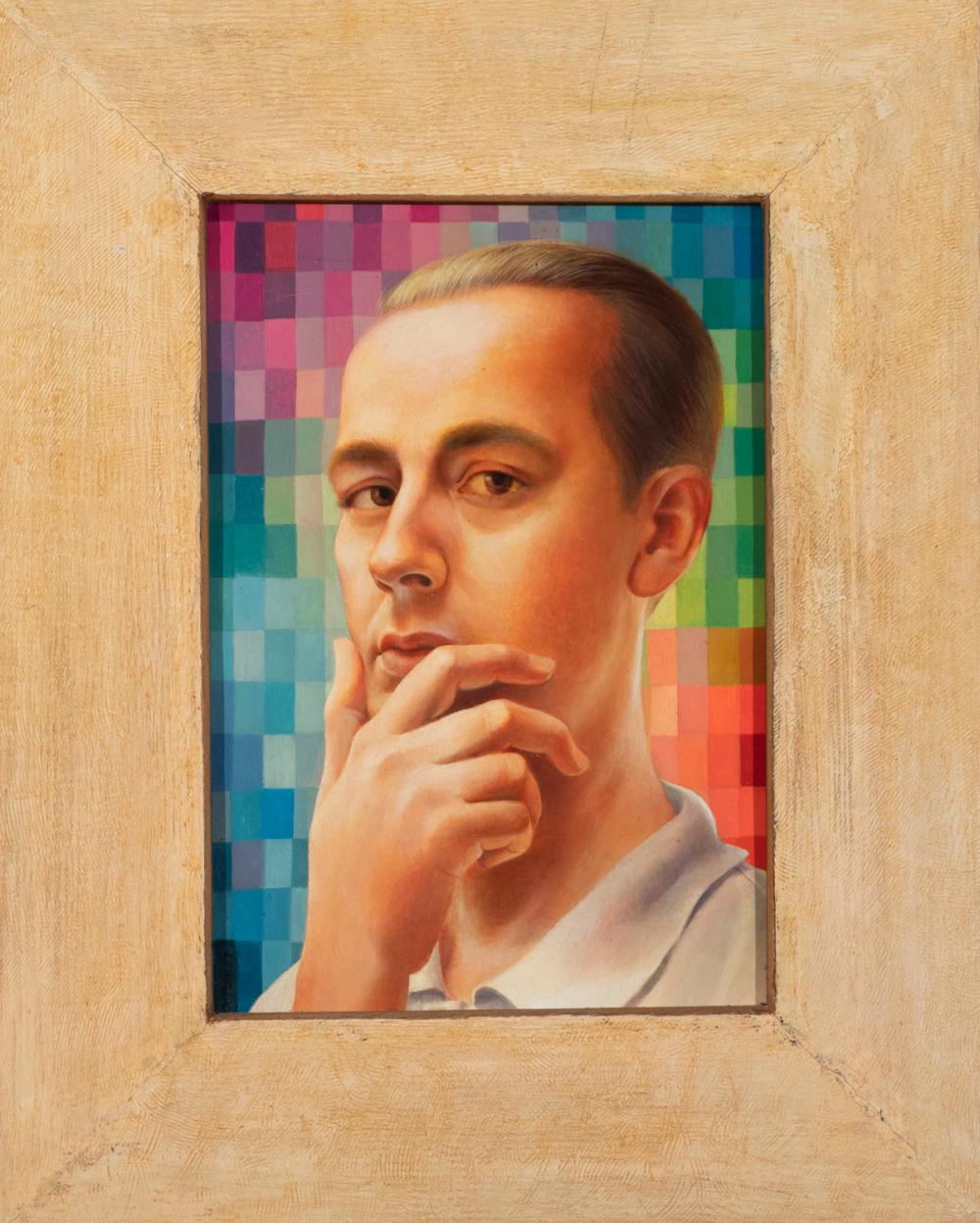 Hal Poth, American (1924-, Self-Portrait, 1957, oil on panel, 14 1/4 x 10 inches