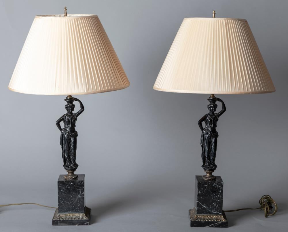 Pair Neoclassical Table Lamps on Marble Base