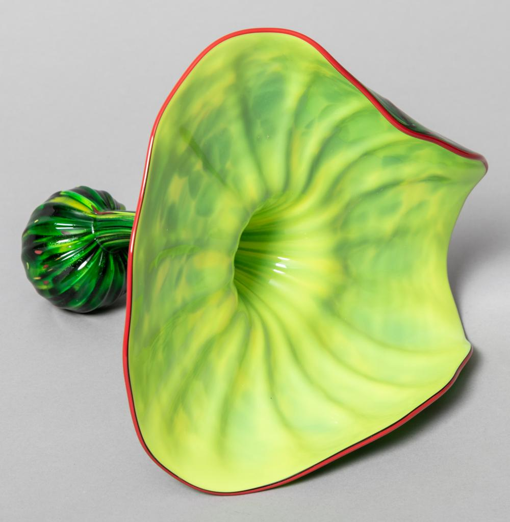 Dale Chihuly, Washington (b. 1941), Parrot Green Persian Vessel with Red Lip Wrap, 8 1/2 x 10 x 10 inches