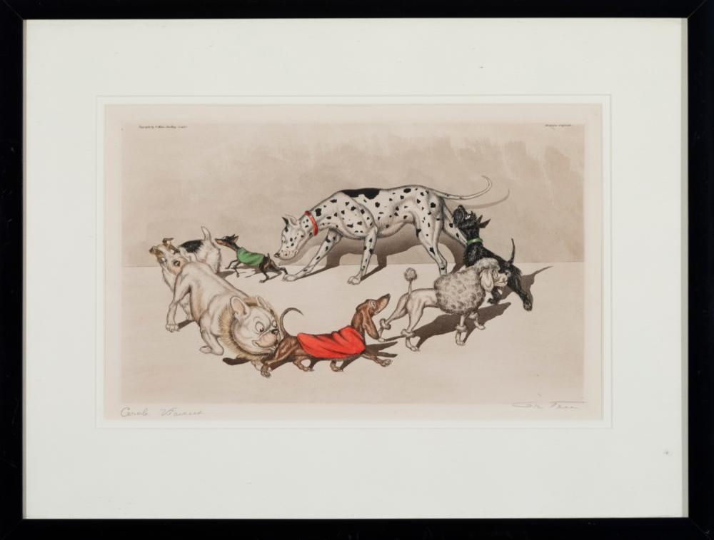 Boris O'Klein, (1893-1985), Two hand colored etchings, Dogs of Paris, 9 x 14 inches; 7 1/2 x 18 inches