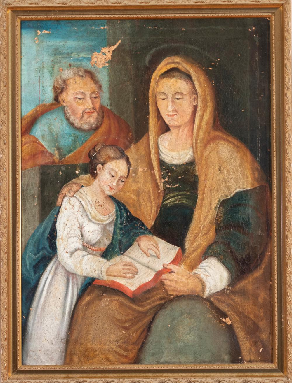 Continental School, 18th century, Young woman holding a book with two saints looking on, oil on canvas mounted on masonite, 29 x 21...