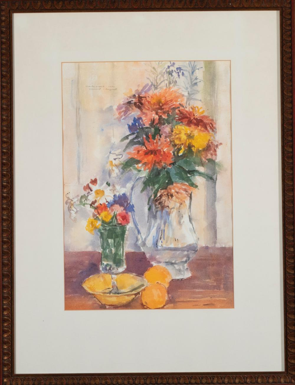 Charles Quest, American (1904-1993), Floral Still Life, 1964, watercolor on paper, 19 x 13 inches (sight)