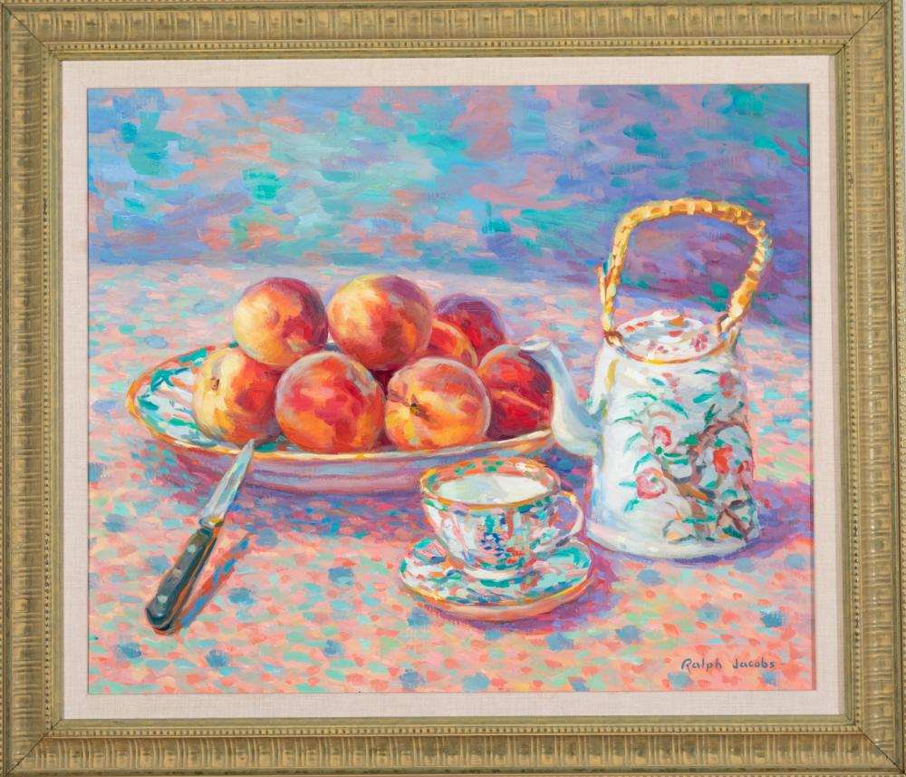 Ralph Jacobs, California, Peaches with Oriental China, oil on canvas, 20 x 24 inches