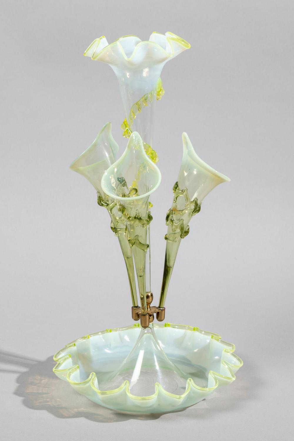 Antique American Opalescent Vaseline Glass Epergne, circa 1880-1900