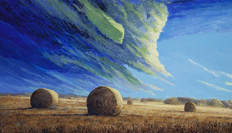 Orval Reeves, American (b. 1949), Round Bales, 2011, acrylic on masonite,