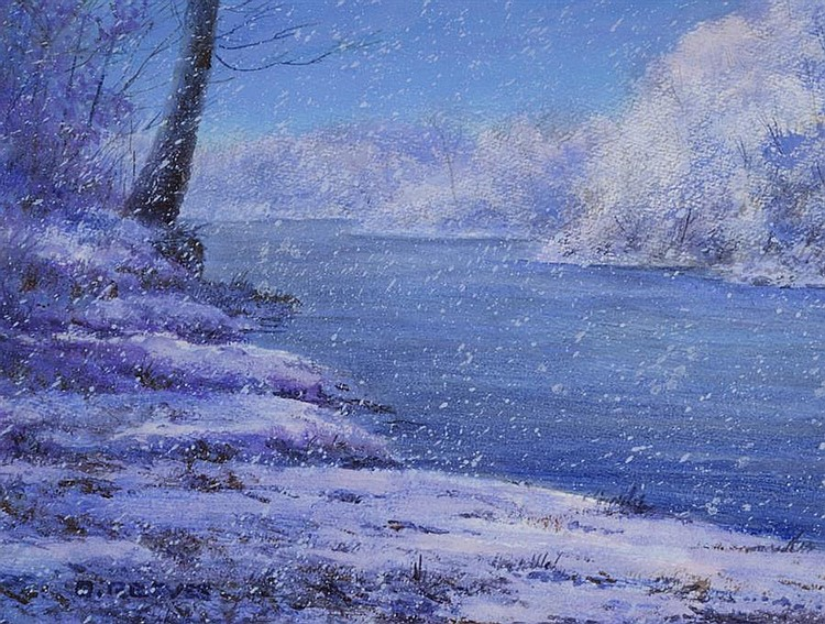 Orval Reeves, American (b. 1949), Early Evening Snow, Gasconade River, 2011, acrylic on paper,