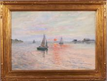 Anna Gardell-Ericson, Sweden (1853-1939), Sailboats in Harbor at Sunset, watercolor on paper, 13 1/2 x 19 1/2 inches