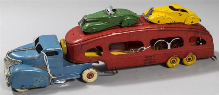 Vintage Marx Four Piece Motor Transit Pressed Steel Toy With