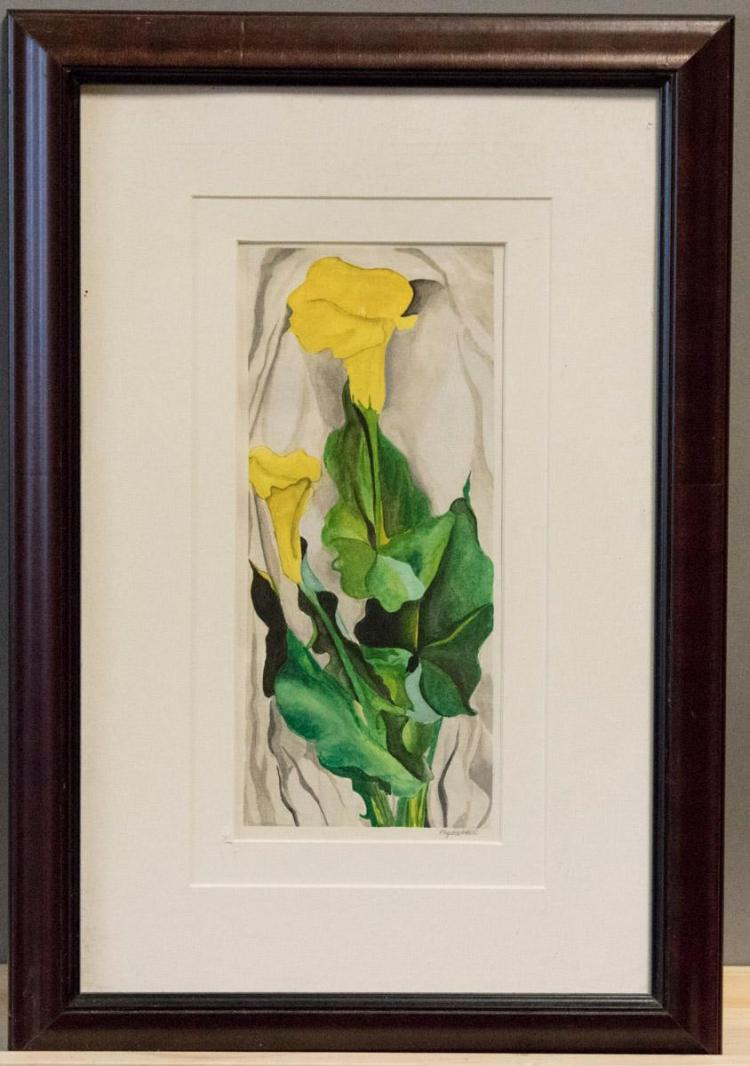 Maggie Robertson (Formerly Wheelock), St. Louis (b. 1974), Yellow Calla Lilies, watercolor on paper, 9 1/2 x 4 1/4 inches