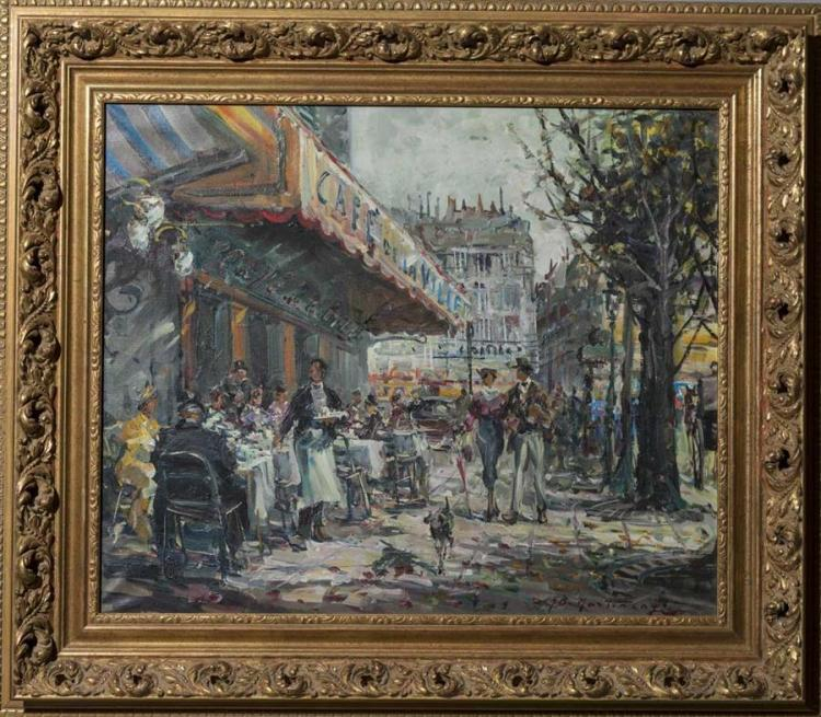 G.B. Martinego, 20th century, Outdoor cafe, oil on canvas, 19 x 23 inches