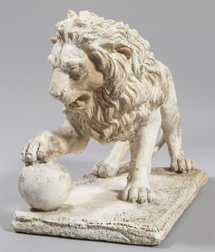Concrete Garden Sculpture Of A Standing Lion