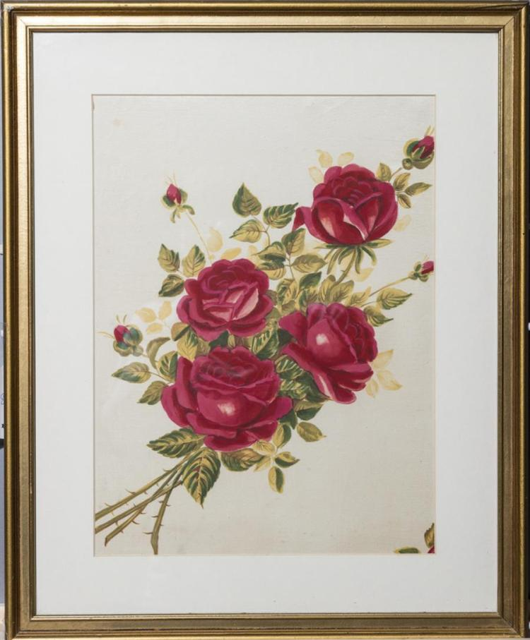 Hand painted silk, roses, circa 1905,