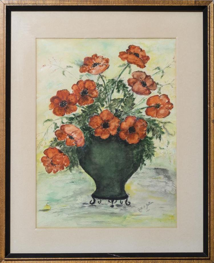 Nell Yolton, 20th century, Floral still life, 1971, watercolor, framed., 21 x 17 inches (with frame)
