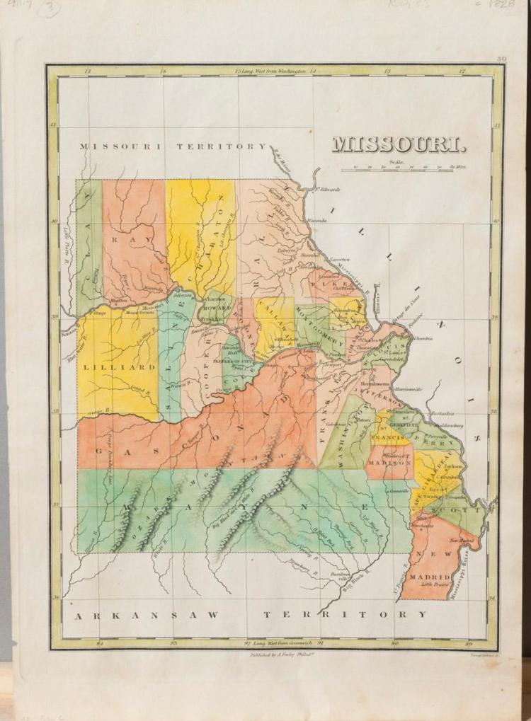 Missouri Territory hand colored engraved map circa 1828, published by A. Finley, Philadelphia.