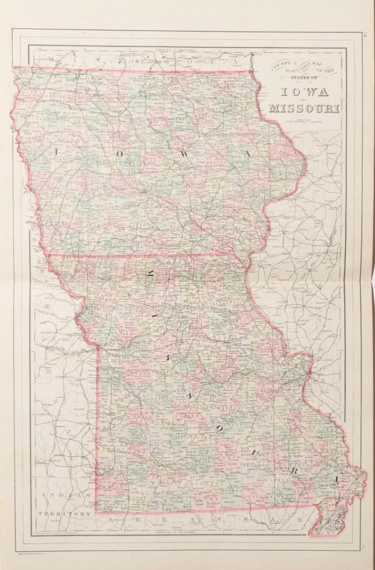 1887 Map of St. Louis pub. by Wm. Bradley & Bro., folded with a township map of Iowa and Missouri on the reverse