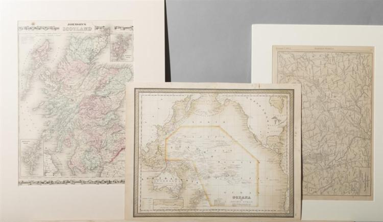 Group of three unframed antique maps including: Johnson's Scotland; Oceana, 1897; and Map of the Seat of War in the West from Harper..