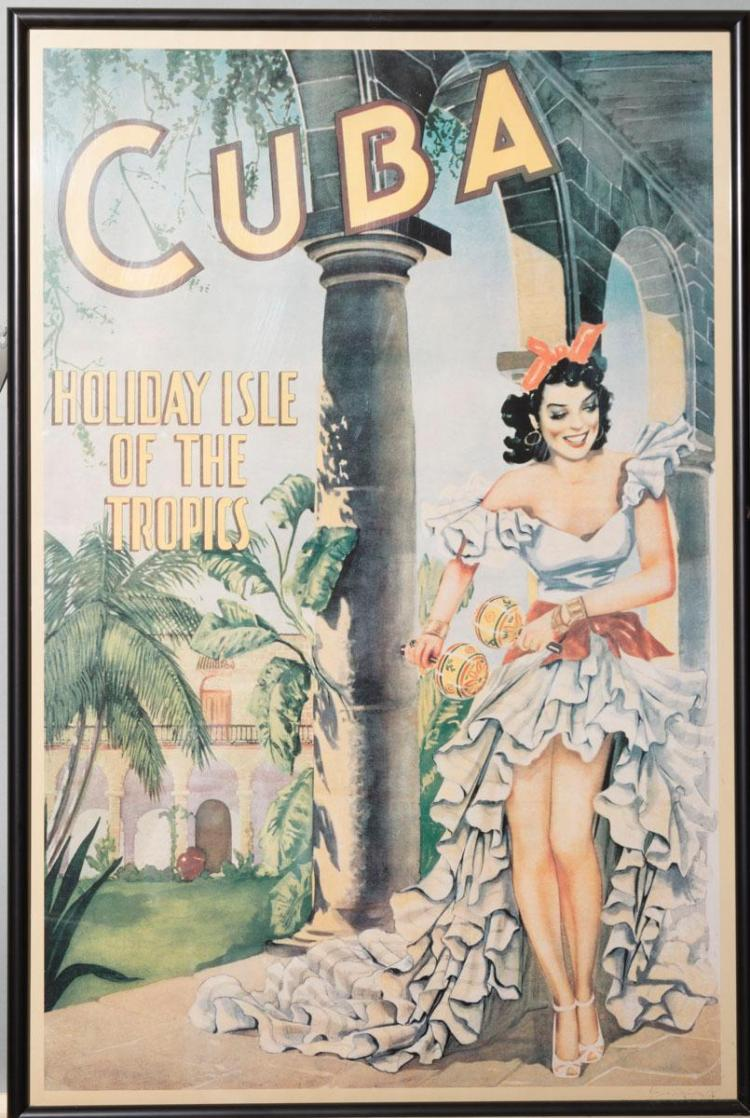framed travel poster quotcuba holiday isle of the tropicsquot 2