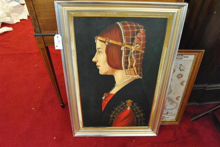 Portrait of a woman, oil on board, framed