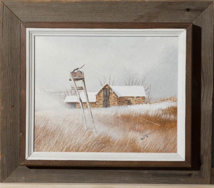Salvatore Salla, Illinois/California (1903-1991), Farmhouse with bell, , oil on board,