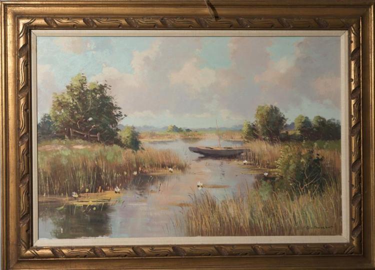 F.V. Severson (sp?), 20th century, River scene, oil on canvas,