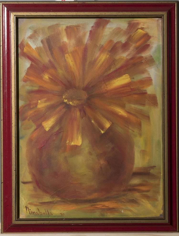 Mirabella, American (20th century), Abstract flower, 1970, oil on canvas,