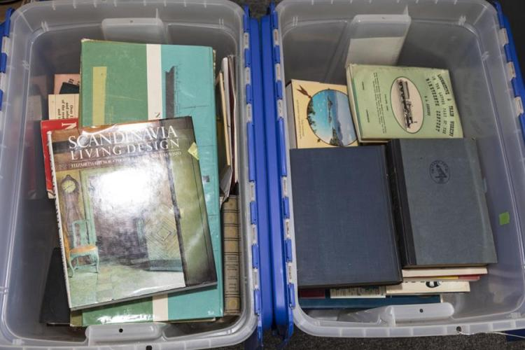 Two boxes of assorted hardbound reference books